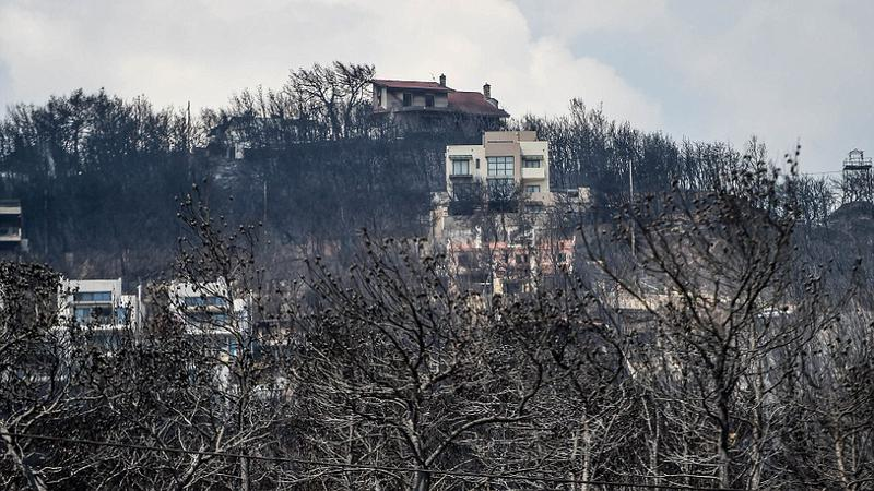 Charred trees and houses on the hillside above Mati, Greece on July 25 2018. Wildfires ravaged houses and properties in the seaside resort earlier this week, killing 79 people.truck in Mati, Greece on July 25 2018. Wildfires ravaged houses and properties in the seaside resort earlier this week, killing 79 people. | Sursa: Peter Summers