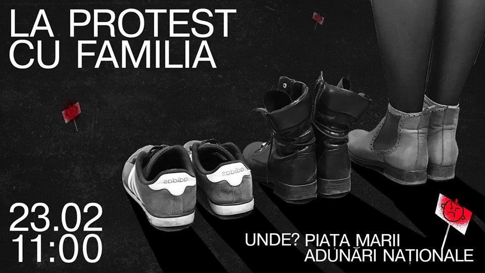La protest cu familia//FACEBOOK