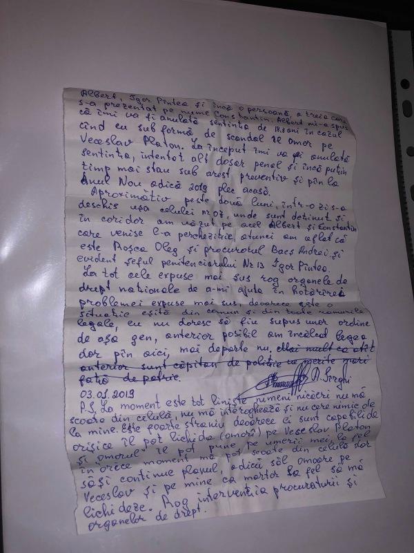scrisoare coleg Platon